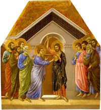 The Incredulity of Thomas.  Duccio, di Buoninsegna, d. 1319  Click to enter image viewer  Use the Save buttons below to save any of the available image sizes to your computer.
