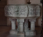 Baptistmal font, Cathedral of St. Pierre, Angouleme, France.   Click to enter image viewer  Use the Save buttons below to save any of the available image sizes to your computer.