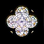 Church of St. Pierre, Aulnay, France; stained glass.   Click to enter image viewer  Use the Save buttons below to save any of the available image sizes to your computer.
