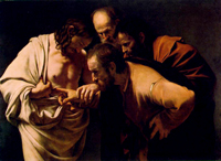 The Incredulity of Saint Thomas.  Caravaggio, Michelangelo Merisi da, 1573-1610  Click to enter image viewer  Use the Save buttons below to save any of the available image sizes to your computer.