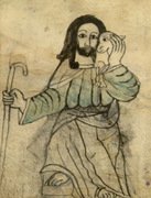 Jesus as shepherd with the lost sheep.  Unidentified  Click to enter image viewer  Use the Save buttons below to save any of the available image sizes to your computer.