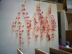 Pentecost art work.  First Presbyterian Church of Berkeley, CA  Click to enter image viewer  Use the Save buttons below to save any of the available image sizes to your computer.