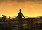 Woman before the Rising Sun (Woman before the Setting Sun).  Friedrich, Caspar David, 1774-1840  Click to enter image viewer  Use the Save buttons below to save any of the available image sizes to your computer.