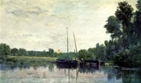 Boats on the Oise.  Daubigny, Charles François, 1817-1878  Click to enter image viewer  Use the Save buttons below to save any of the available image sizes to your computer.