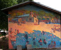 Mural at Chimayo - Gathering to Worship.   Click to enter image viewer  Use the Save buttons below to save any of the available image sizes to your computer.