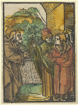 Christ and the Pharisees.  Schäufelein, Hans, approximately 1480-approximately 1539  Click to enter image viewer  Use the Save buttons below to save any of the available image sizes to your computer.