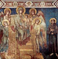 Madonna Enthroned with Angels and Francis of Assisi.  Cimabue  Click to enter image viewer  Use the Save buttons below to save any of the available image sizes to your computer.