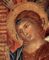 Angel, detail from Enthroned Madonna with Angels and Prophets.  Cimabue  Click to enter image viewer  Use the Save buttons below to save any of the available image sizes to your computer.