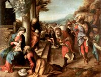 Adoration of the Christ Child by the Three Kings.  Correggio, 1489?-1534  Click to enter image viewer  Use the Save buttons below to save any of the available image sizes to your computer.