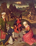 Food and Water are provided by God to the Israelites during the Exodus.  Bouts, Dieric, 1415-1475  Click to enter image viewer  Use the Save buttons below to save any of the available image sizes to your computer.