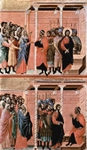 Christ Accused by the Pharisees (top); Pilate's First Interrogation of Christ (bottom).  Duccio, di Buoninsegna, -1319?  Click to enter image viewer  Use the Save buttons below to save any of the available image sizes to your computer.