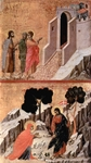 Road to Emmaus (top); Noli me tangere (bottom).  Duccio, di Buoninsegna, d. 1319  Click to enter image viewer  Use the Save buttons below to save any of the available image sizes to your computer.
