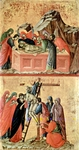 Burial of Christ (top); Descent from the Cross (bottom).  Duccio, di Buoninsegna, -1319?  Click to enter image viewer  Use the Save buttons below to save any of the available image sizes to your computer.