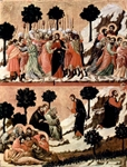 Arrest of Jesus (top); Agony in the Garden (bottom).  Duccio, di Buoninsegna, -1319?  Click to enter image viewer  Use the Save buttons below to save any of the available image sizes to your computer.