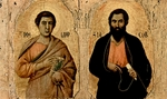 Apostles Philip and James the Elder.  Duccio, di Buoninsegna, -1319?  Click to enter image viewer  Use the Save buttons below to save any of the available image sizes to your computer.