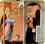 Annunciation - Predella panel from the Maesta Altarpiece of Siena.  Duccio, di Buoninsegna, -1319?  Click to enter image viewer  Use the Save buttons below to save any of the available image sizes to your computer.