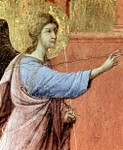 Gabriel, detail from Annunciation.  Duccio, di Buoninsegna, d. 1319  Click to enter image viewer  Use the Save buttons below to save any of the available image sizes to your computer.