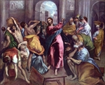 Christ Expelling the Money Changers in the Temple.  Greco, 1541?-1614  Click to enter image viewer  Use the Save buttons below to save any of the available image sizes to your computer.