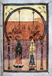 Apocalyptic text illumination - Two Fathers.  Emetrius, Master of the School of Tavara  Click to enter image viewer  Use the Save buttons below to save any of the available image sizes to your computer.