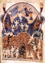 Apocalyptic text illumination - Hell.  Emetrius, Master of the School of Tavara  Click to enter image viewer  Use the Save buttons below to save any of the available image sizes to your computer.