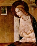 Annunciation, detail of Mary.  Angelico, fra, approximately 1400-1455  Click to enter image viewer  Use the Save buttons below to save any of the available image sizes to your computer.