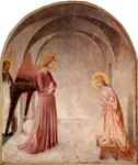 Annunciation, with St. Dominic.  Angelico, fra, approximately 1400-1455  Click to enter image viewer  Use the Save buttons below to save any of the available image sizes to your computer.