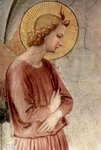 Annunciation, with St. Dominic, detail of Gabriel.  Angelico, fra, approximately 1400-1455  Click to enter image viewer  Use the Save buttons below to save any of the available image sizes to your computer.