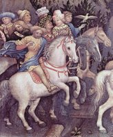 Adoration of the Three Kings, detail in background.