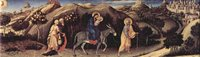 Adoration of the Three Kings - Flight into Egypt, detail.  Gentile, da Fabriano, ca. 1370-1427  Click to enter image viewer  Use the Save buttons below to save any of the available image sizes to your computer.