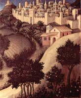 Adoration of the Three Kings - landscape detail.  Gentile, da Fabriano, ca. 1370-1427  Click to enter image viewer  Use the Save buttons below to save any of the available image sizes to your computer.