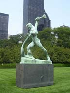 'Let us Beat Swords into Plowshares' at the United Nations north garden area.  Vuchetich, Evgeniy Viktorovich, 1908-1974  Click to enter image viewer  Use the Save buttons below to save any of the available image sizes to your computer.