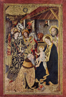 Adoration of the Christ Child by the Three Kings.  Huguet, Jaime, b. 1415  Click to enter image viewer  Use the Save buttons below to save any of the available image sizes to your computer.