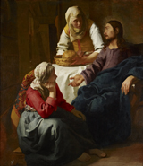 Christ with Mary and Martha.  Vermeer, Johannes, 1632-1675  Click to enter image viewer  Use the Save buttons below to save any of the available image sizes to your computer.