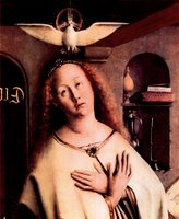 Altar of the Mystical Lamb - Mary with Holy Spirit, detail.  Eyck, Hubert van, 1366-1426; Eyck, Jan van, 1390-1440  Click to enter image viewer  Use the Save buttons below to save any of the available image sizes to your computer.