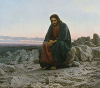 Christ in the Wilderness.  Kramskoĭ, Ivan Nikolaevich, 1837-1887  Click to enter image viewer  Use the Save buttons below to save any of the available image sizes to your computer.