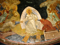 Fresco from Kariye Camii, Anastasis -  showing Christ and the resurrection of Adam and Eve.