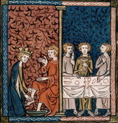 Louis IX of France washing a poor man's feet, and feeding the poor.   Click to enter image viewer  Use the Save buttons below to save any of the available image sizes to your computer.