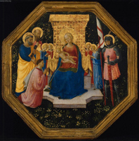 Virgin and Child Enthroned with Saints Peter, Paul, and George (?), Four Angels, and a Donor.  Angelico, fra, approximately 1400-1455  Click to enter image viewer  Use the Save buttons below to save any of the available image sizes to your computer.