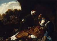 St. Stephen Mourned by Sts. Gamaliel and Nicodemus.  Saraceni, Carlo, 1579-1620  Click to enter image viewer  Use the Save buttons below to save any of the available image sizes to your computer.