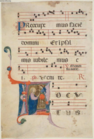 Leaf from an Antiphonary.  Neri, da Rimini, 13th/14th cent.  Click to enter image viewer  Use the Save buttons below to save any of the available image sizes to your computer.