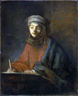 Evangelist Writing.  Rembrandt Harmenszoon van Rijn, 1606-1669  Click to enter image viewer  Use the Save buttons below to save any of the available image sizes to your computer.