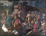 Moses and the Israelites and the Miracle of Water from the Rock.  Lucas, van Leyden, 1494-1533  Click to enter image viewer  Use the Save buttons below to save any of the available image sizes to your computer.