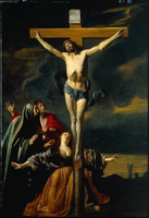 The Crucifixion with the Virgin, St. John, and Mary Magdalene.  Le Nain, Mathieu, 1607-1677  Click to enter image viewer  Use the Save buttons below to save any of the available image sizes to your computer.