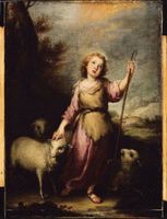 Young Christ as the Good Shepherd.  Murillo, Bartolomé Esteban, 1617-1682  Click to enter image viewer  Use the Save buttons below to save any of the available image sizes to your computer.