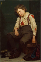Tuckered Out - The Shoeshine Boy.  Brown, John George, 1831-1913  Click to enter image viewer  Use the Save buttons below to save any of the available image sizes to your computer.