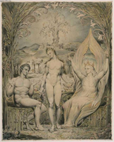 The Archangel Raphael with Adam and Eve (Illustration for Paradise Lost).  Blake, William, 1757-1827  Click to enter image viewer  Use the Save buttons below to save any of the available image sizes to your computer.