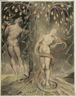The Temptation and Fall of Eve (Illustration for Paradise Lost, by John Milton).  Blake, William, 1757-1827  Click to enter image viewer  Use the Save buttons below to save any of the available image sizes to your computer.