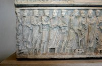 Sarcophagus of Marcus Claudianus-Peter Striking the Rock and his Arrest.   Click to enter image viewer  Use the Save buttons below to save any of the available image sizes to your computer.