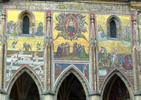 Facade mosaic, St. Vitus Cathedral.   Click to enter image viewer  Use the Save buttons below to save any of the available image sizes to your computer.
