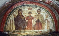 Fresco-Catacomb of San Gennaro - - [Lectionary selection, Fifth Sunday of Easter, Year C].   Click to enter image viewer  Use the Save buttons below to save any of the available image sizes to your computer.